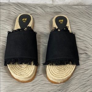 H&M fringe slide on espadrille sandals size 40